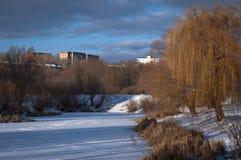 Lago congelado en invierno Imágenes de archivo libres de regalías