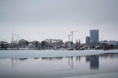 Lago congelado Herastrau fotos de archivo