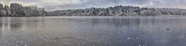 Lago congelado panorâmico Foto de Stock Royalty Free