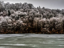 Lago congelado perto de Belgrado Fotografia de Stock