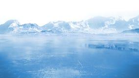 Lago congelato con le montagne rocciose innevate circostanti Fotografia Stock Libera da Diritti