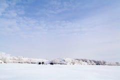 Lago congelato con neve Fotografia Stock