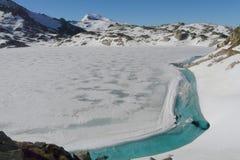 Lago congelato nell'area di Fosca del vall della La, nelle montagne della Catalogna di Pirenei, la Spagna Immagine Stock