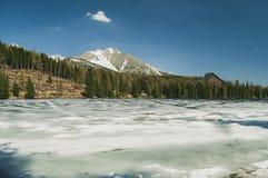 Lago congelato nelle montagne Immagini Stock Libere da Diritti