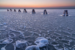 Lago congelato Neusiedler, Austria Fotografie Stock Libere da Diritti