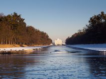 Lago congelato in Nymphenburg Immagine Stock