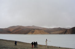 Lago congelato Pangong nella stagione invernale fotografia stock libera da diritti
