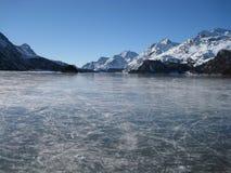 Lago congelato a sils Maria Fotografie Stock Libere da Diritti