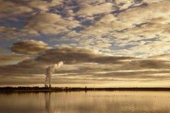 Lago Cospudener alla sera fotografia stock libera da diritti