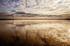 Lago Cospudener alla sera immagine stock