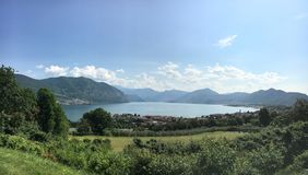 Lago d'Iseo. Panoramic view of lake Iseo (lago d'Iseo) in northern Italy stock image