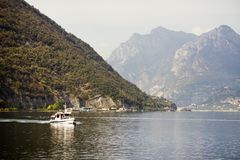 ISEO LAKE, ITALY, 20 OCTOBER, 2018: Touristic ship on Iseo Lake. Lago d`Iseo or Sebino is the fourth largest lake in Lombardy, Italy, fed by the Oglio river. It royalty free stock photos