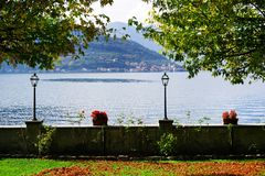 Autumn view from Sale Marasino over Iseo Lake. Monte Isola in background. Lago d`Iseo or Sebino is the fourth largest lake in Lombardy, Italy, fed by the Oglio stock image
