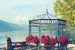 Autumn view from Sale Marasino over Iseo Lake. Marone town to the right. Lago d`Iseo or Sebino is the fourth largest lake in Lombardy, Italy, fed by the Oglio royalty free stock photography
