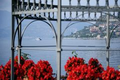 Autumn view from Sale Marasino over Iseo Lake. Marone town to the right. royalty free stock photography