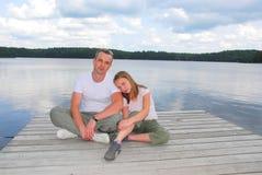 Lago da criança do pai Fotografia de Stock