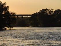 Lago da floresta do por do sol Imagens de Stock Royalty Free