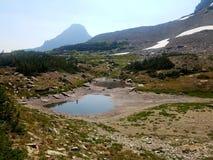 lago da geleira da floresta alta de 4k Rocky Mountain no verão Imagem de Stock Royalty Free