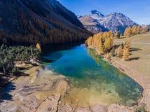 Lago da montanha de turquesa cercado pela floresta fotos de stock
