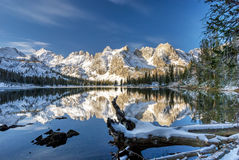 Lago da montanha do inverno com log e reflexões Fotografia de Stock