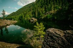 Lago da montanha do verão com pedras vulcânicas e madeira no banco Fotos de Stock