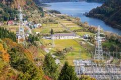 Lago dam di Tagokura a Fukushima nel Giappone Fotografia Stock Libera da Diritti