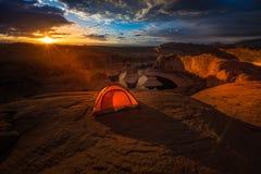 Lago de acampamento Powell Reflection Canyon Utah EUA remote Imagem de Stock Royalty Free