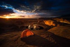 Lago de acampamento Powell Reflection Canyon Utah EUA remote Fotografia de Stock Royalty Free