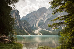 Lago de Braies or The Pragser Wildsee Royalty Free Stock Photos