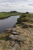 Lago de Cragg en Roman Wall Northumberland, Inglaterra Fotografía de archivo