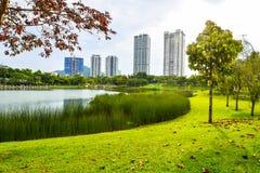 Lago de la estación de verano, árboles e hierba verde en Desa Park City Kuala Lumpur Malaysia Imagen de archivo libre de regalías