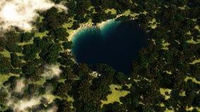 Lago de la forma del corazón visto desde arriba entre los árboles stock de ilustración
