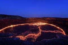 Lago de la lava de la cerveza inglesa de Erta Fotografía de archivo