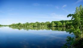 Lago de la mañana del verano foto de archivo