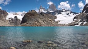 Lago de Los Tres shoreline El Chalten, Argentina. Lago de Los Tres shoreline with Fitz Roy royalty free stock photo