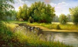 Lago de madeira ilustração royalty free