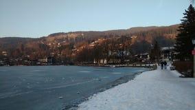 Lago de Schliersee no gelo Fotografia de Stock Royalty Free