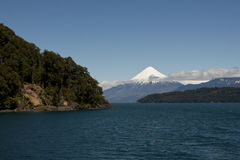 Lago de Todos los Santos with snowy Volcano Stock Photography
