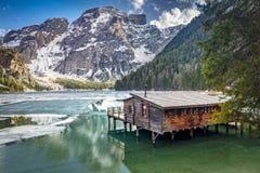Lago dei braies in Italia Immagine Stock