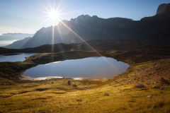 Lago dei Piani at sunny morning Stock Images