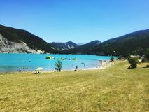 Lago del castillon de la playa Imagen de archivo libre de regalías