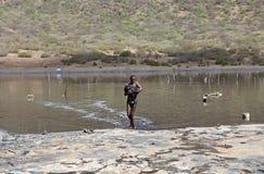 Lago Etiopía del cráter del césped del EL Foto de archivo libre de regalías