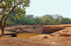 Lago del tempio storico di Saptakoteshwar in Goa Fotografie Stock Libere da Diritti