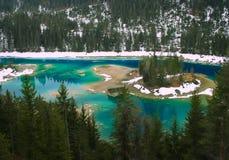 Lago della foresta di inverno, Svizzera Immagini Stock