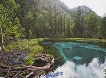 Lago della montagna del geyser con argilla blu Altai, Russia Immagini Stock