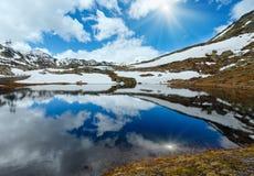 Lago della montagna delle alpi Fotografia Stock