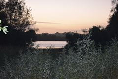 Lago della valle di masticazione al tramonto Fotografia Stock
