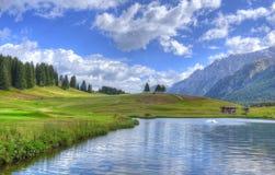 Lago delle montagne del paesaggio di HDR in Italia Trentino Fotografia Stock Libera da Diritti