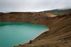 Lago dentro del cratere famoso di Viti, Islanda Immagini Stock