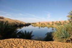 Lago in deserto libico Fotografie Stock Libere da Diritti